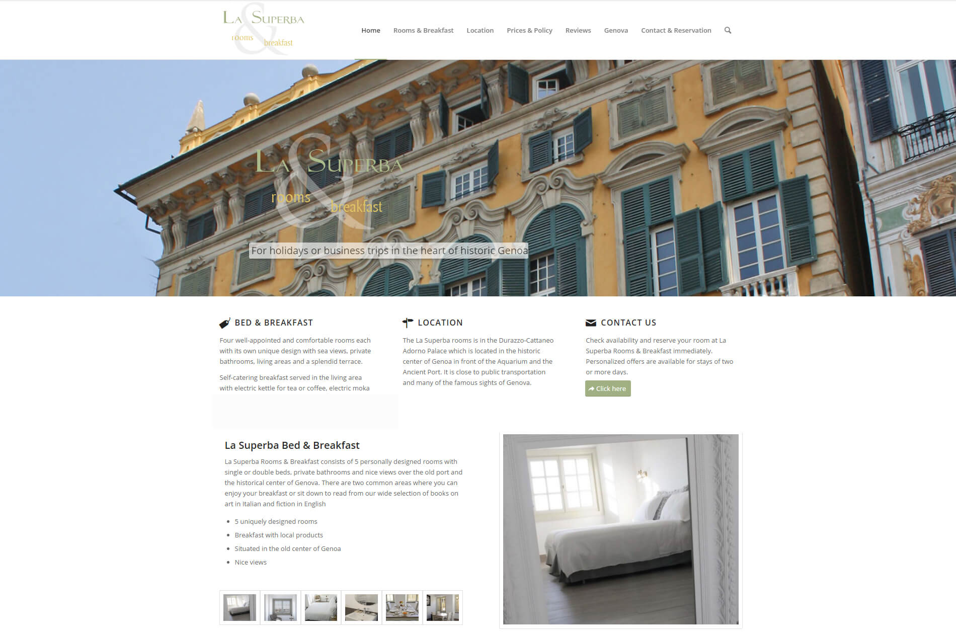 Web design responsive anweb La Superba B&B Genua Italy