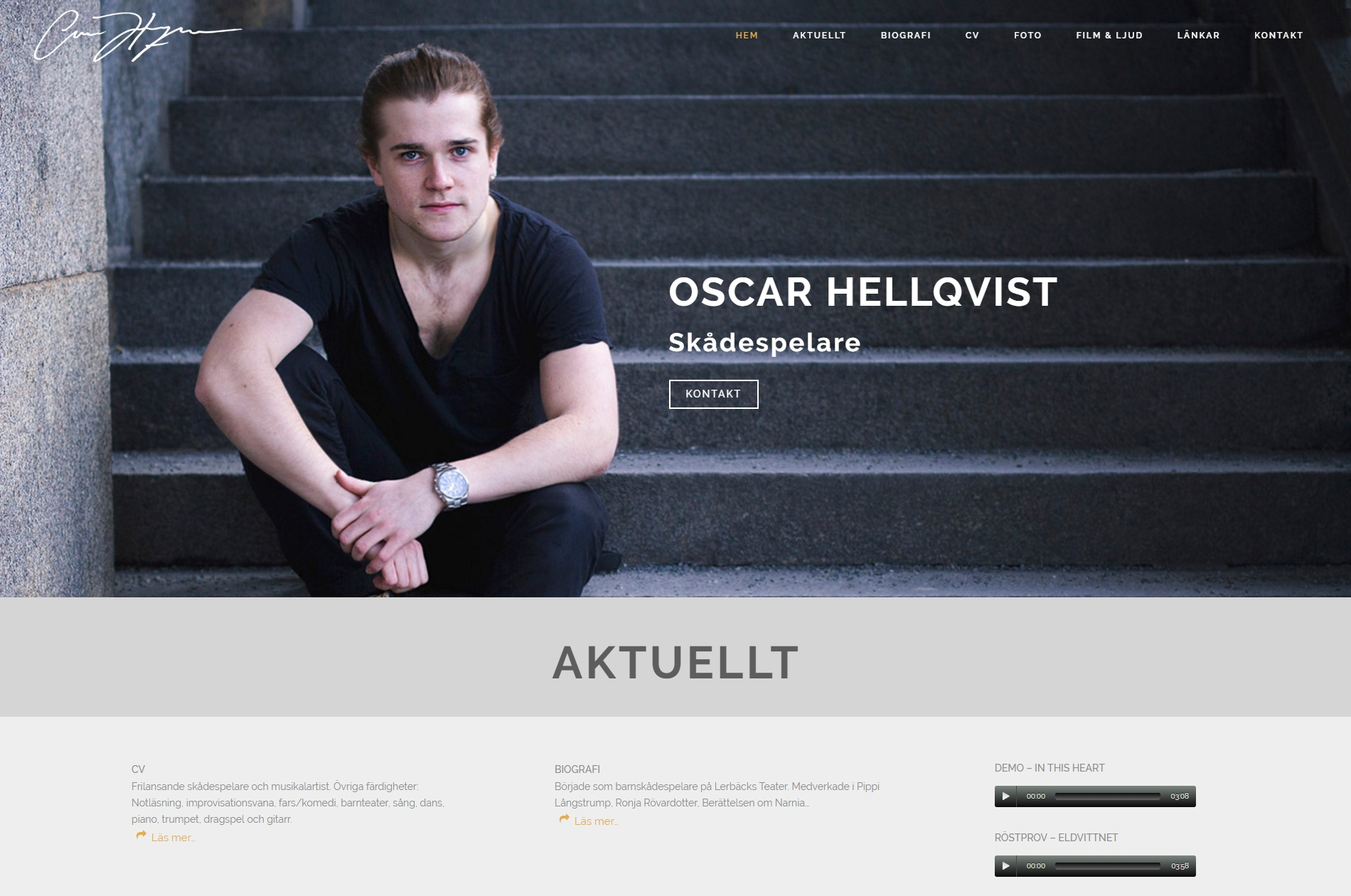 Web design responsive anweb Oscar Hellqvist Skådespelare