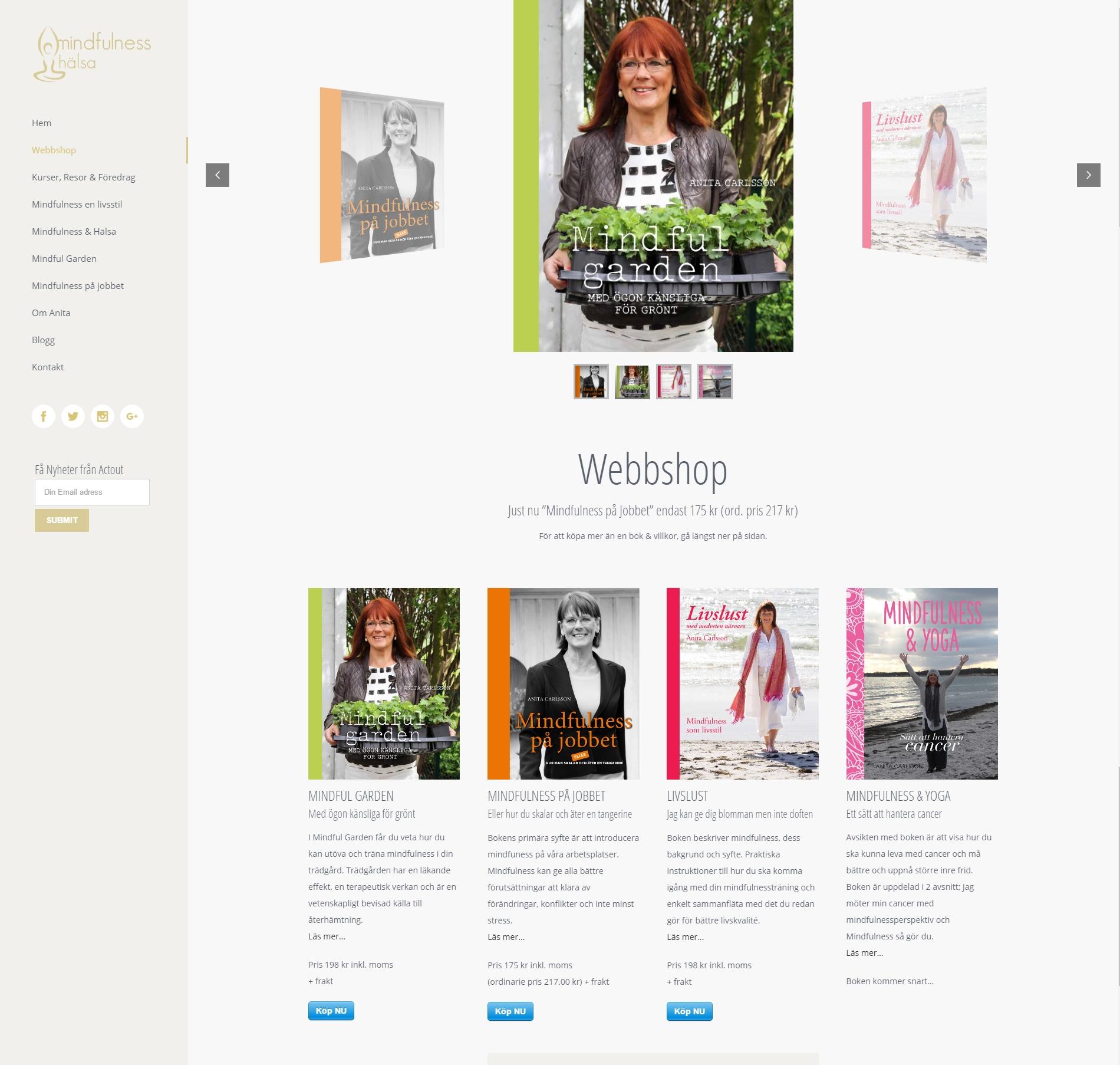 Webshop Web design anweb Mindfulness Hälsa