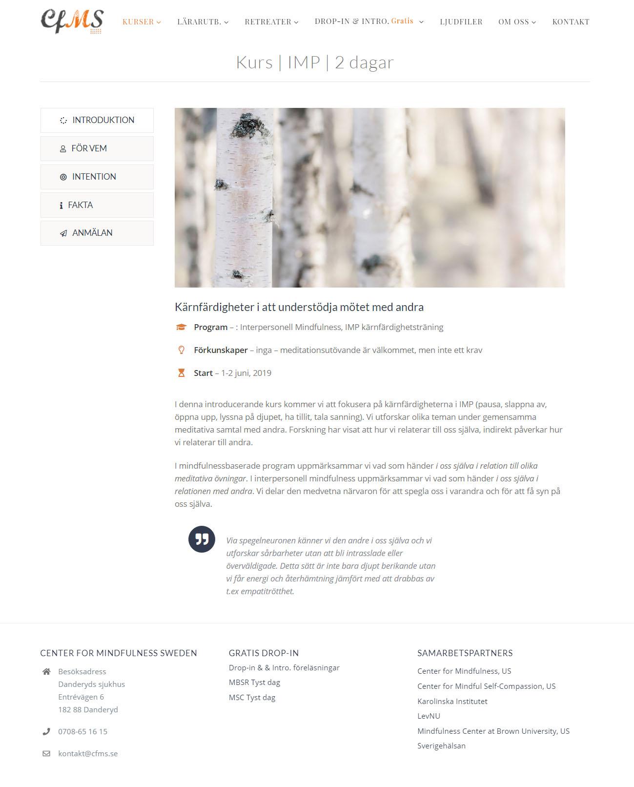 Webb Design Anweb Center for Mindfulness Sweden
