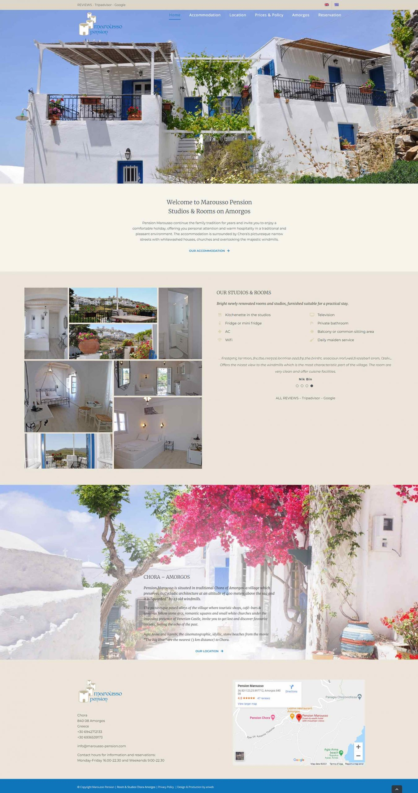 Web design anweb Marousso Pension