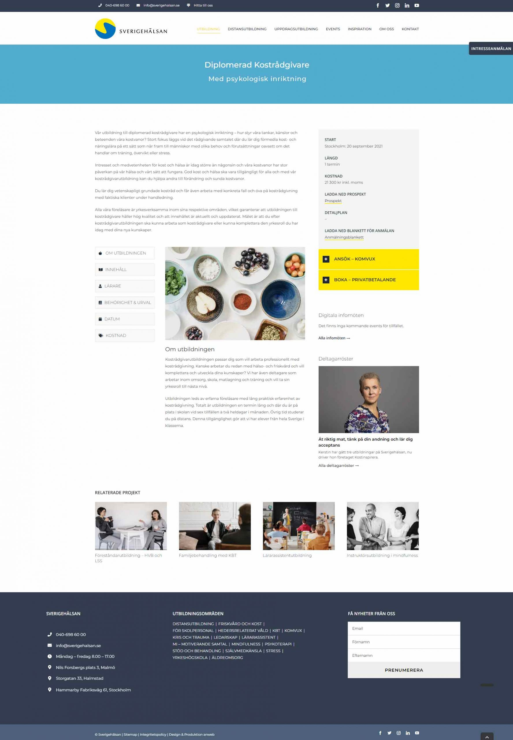 Web design Sverigehalsan Education
