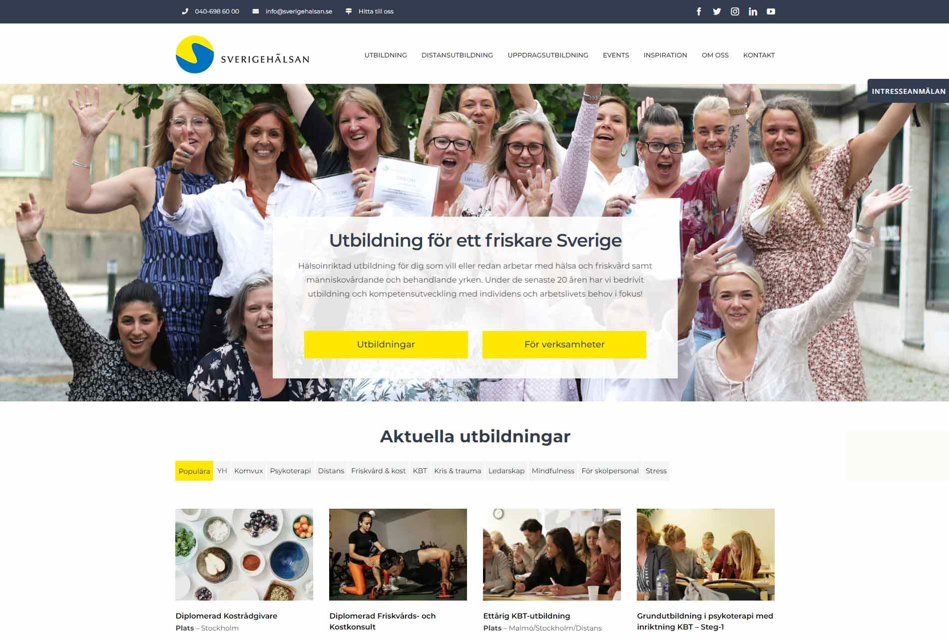 anweb design Sverigehälsan